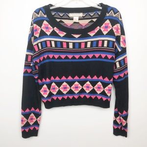 Flying Tomato Tribal Print Crop Sweater Top